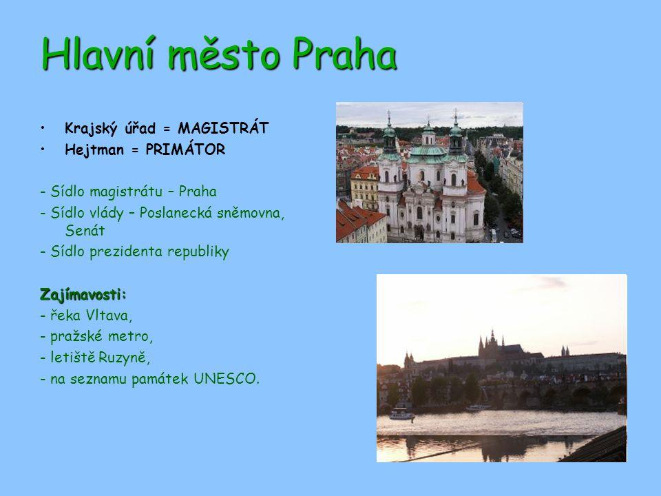 Hlavní město Praha Krajský úřad = MAGISTRÁT Hejtman = PRIMÁTOR