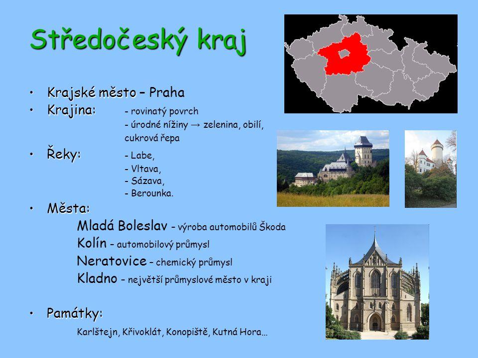Středočeský kraj Krajské město – Praha Krajina: - rovinatý povrch