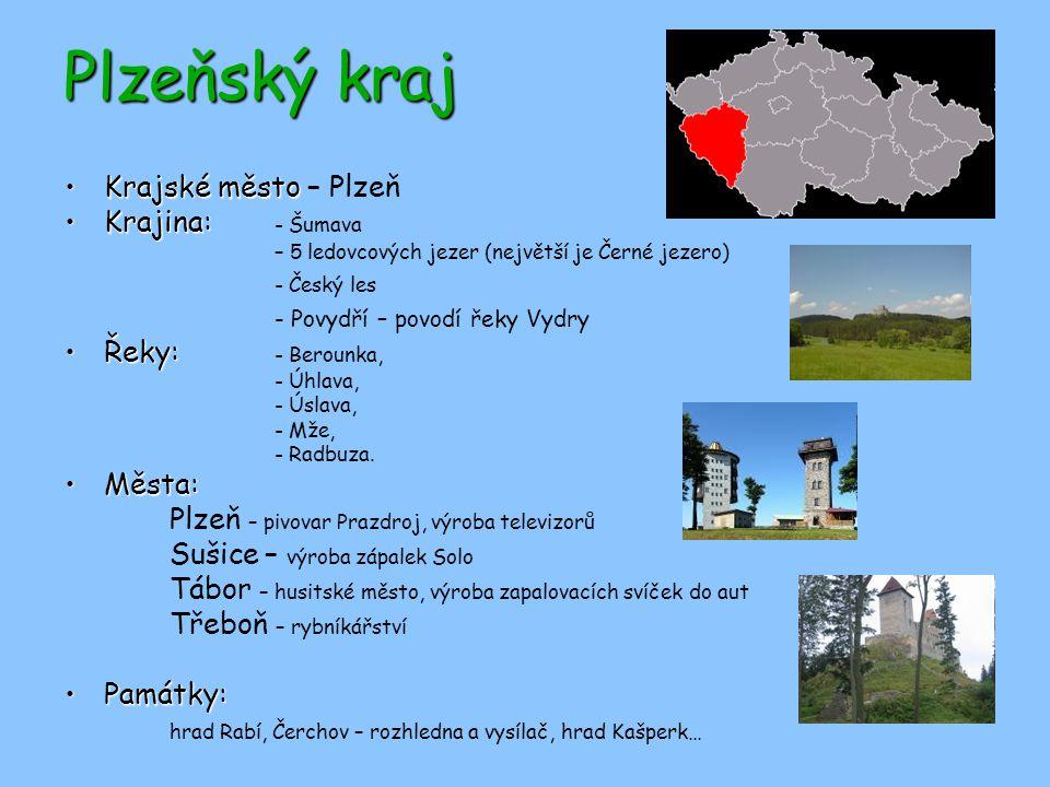 Plzeňský kraj Krajské město – Plzeň Krajina: - Šumava - Český les
