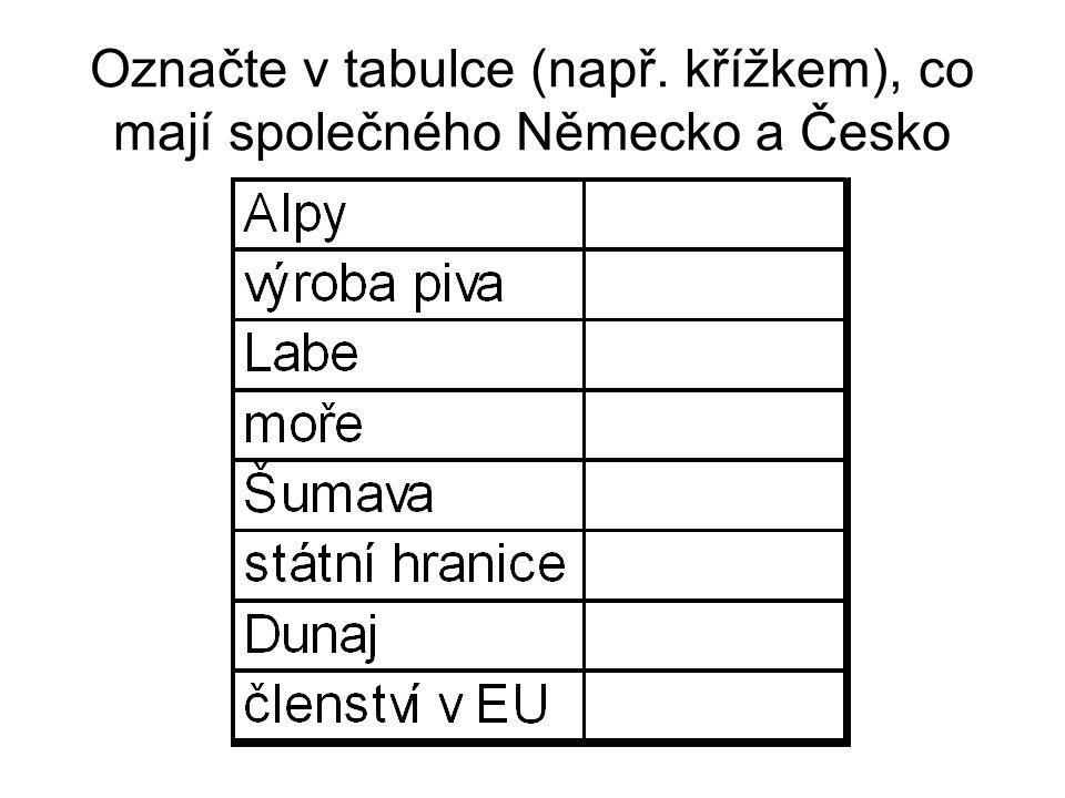 Označte v tabulce (např. křížkem), co mají společného Německo a Česko