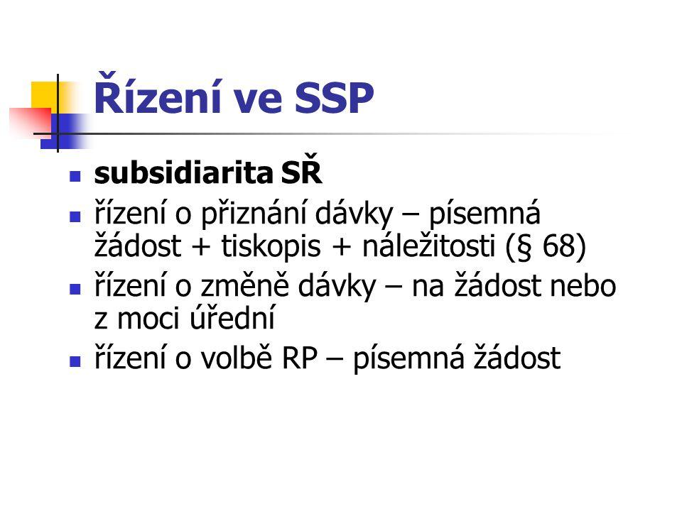 Řízení ve SSP subsidiarita SŘ