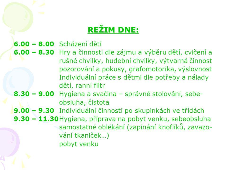 REŽIM DNE: 6.00 – 8.00 Scházení dětí