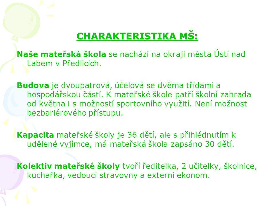 CHARAKTERISTIKA MŠ: Naše mateřská škola se nachází na okraji města Ústí nad Labem v Předlicích.