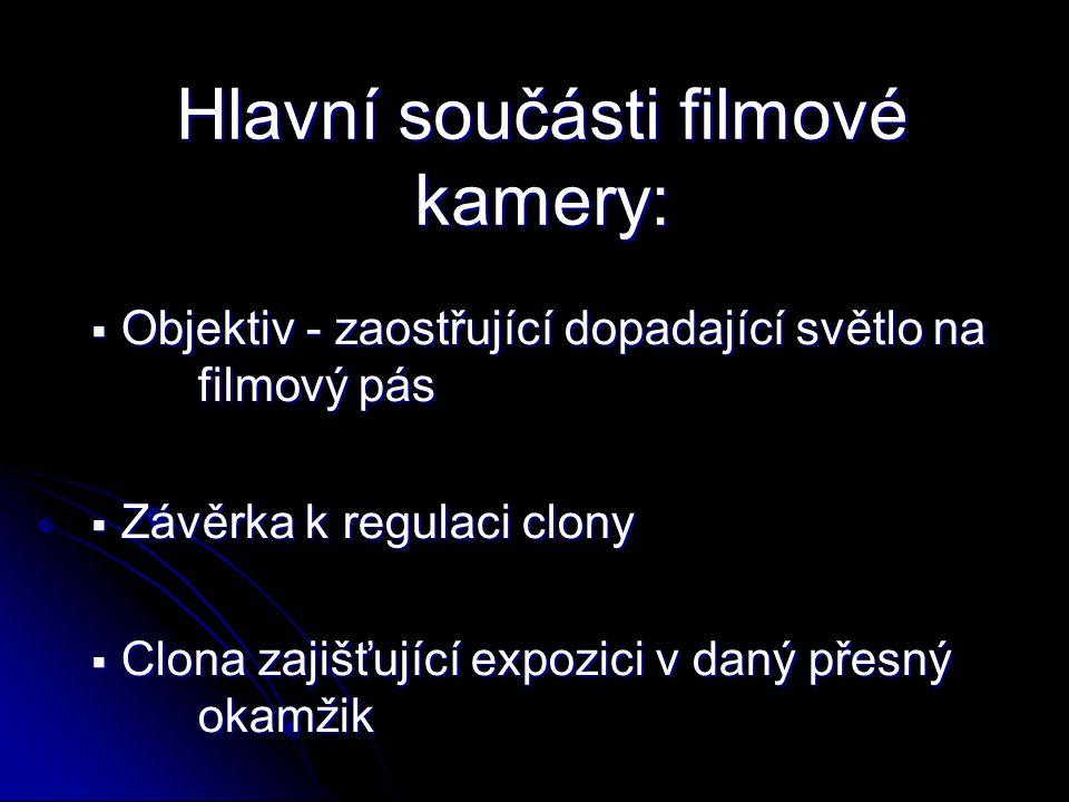 Hlavní součásti filmové kamery: