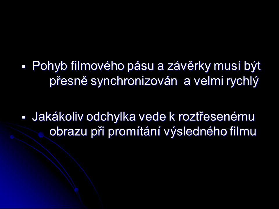 Pohyb filmového pásu a závěrky musí být