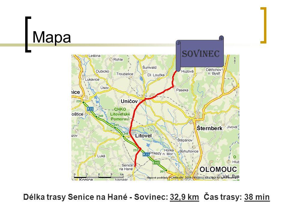 Délka trasy Senice na Hané - Sovinec: 32,9 km Čas trasy: 38 min