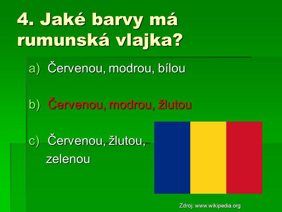 4. Jaké barvy má rumunská vlajka