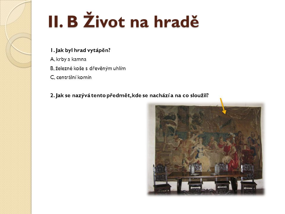 II. B Život na hradě