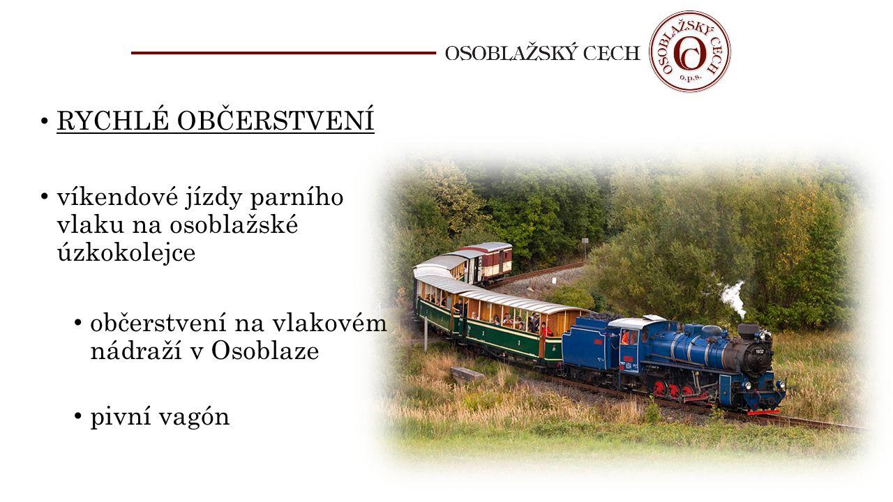 RYCHLÉ OBČERSTVENÍ víkendové jízdy parního vlaku na osoblažské úzkokolejce. občerstvení na vlakovém nádraží v Osoblaze.