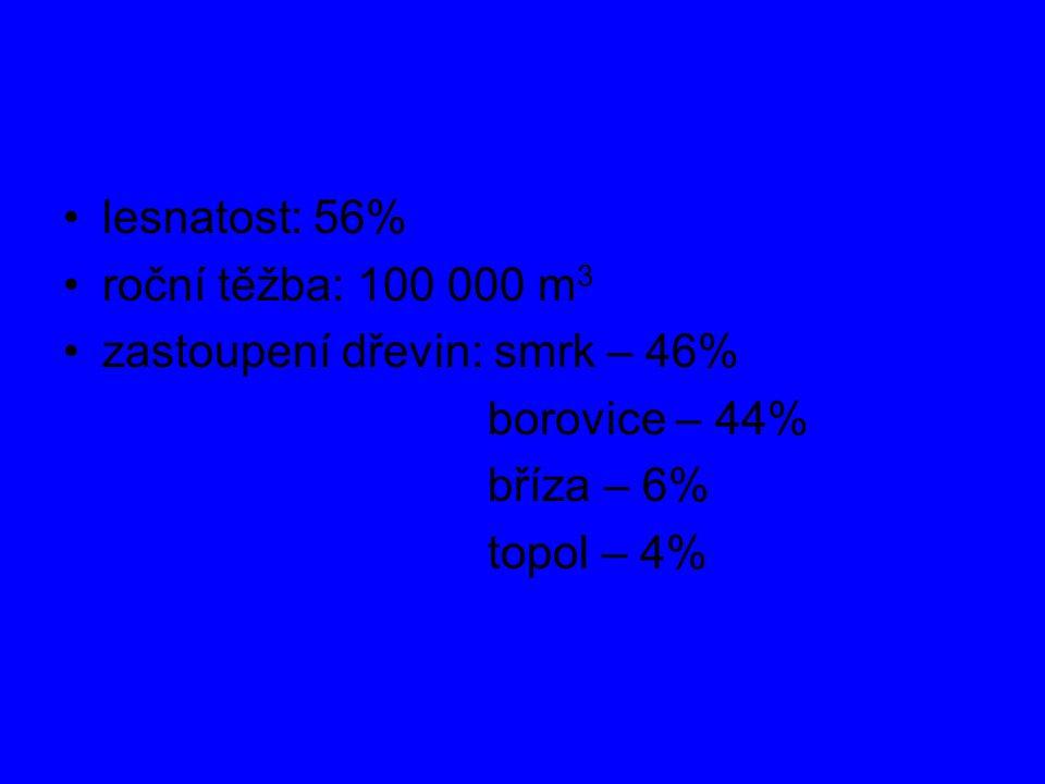 lesnatost: 56% roční těžba: 100 000 m3.