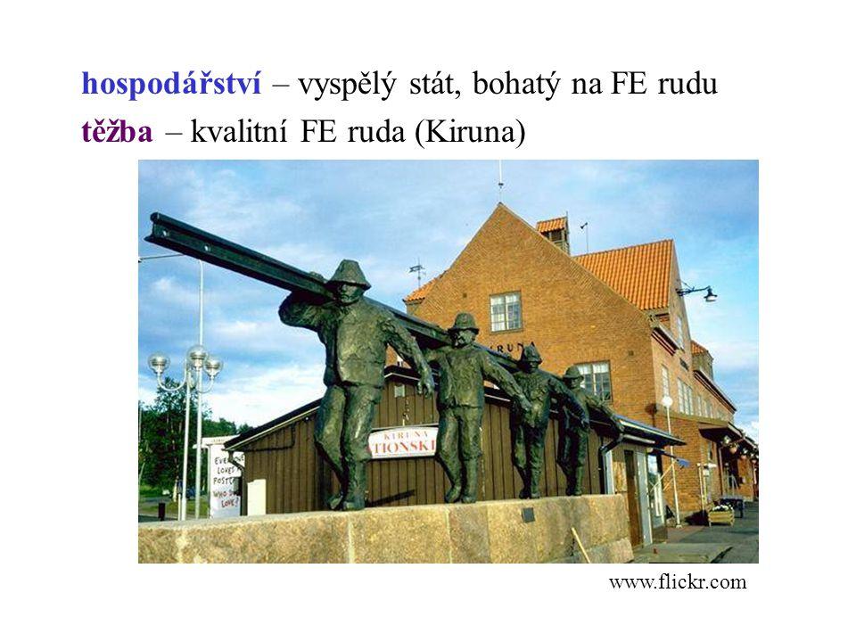 hospodářství – vyspělý stát, bohatý na FE rudu těžba – kvalitní FE ruda (Kiruna)