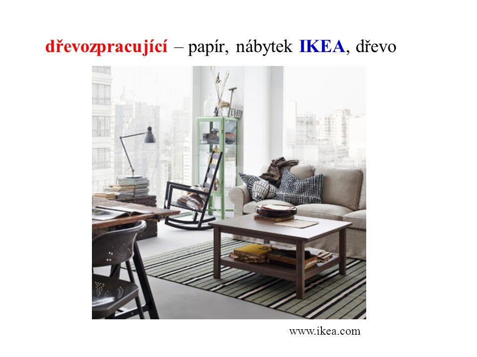 dřevozpracující – papír, nábytek IKEA, dřevo