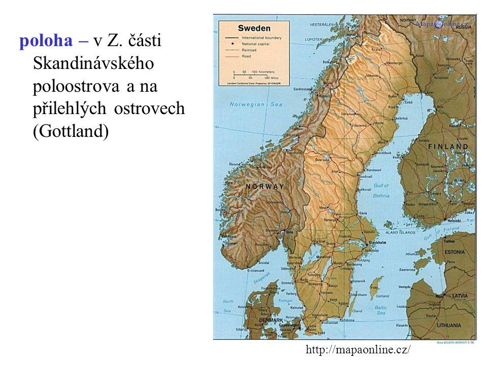 poloha – v Z. části Skandinávského poloostrova a na přilehlých ostrovech (Gottland)