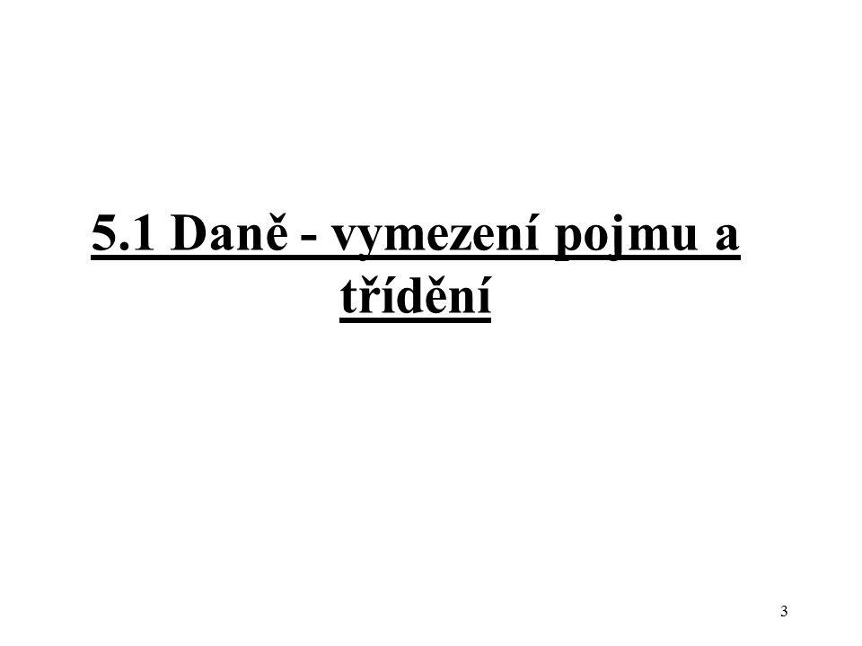 5.1 Daně - vymezení pojmu a třídění