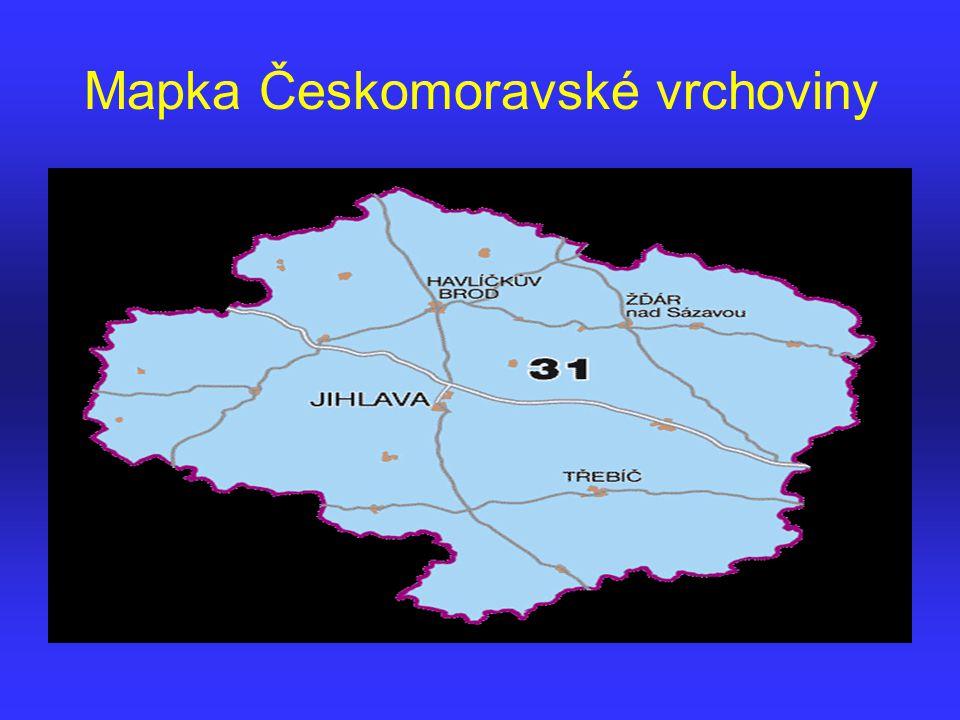 Mapka Českomoravské vrchoviny