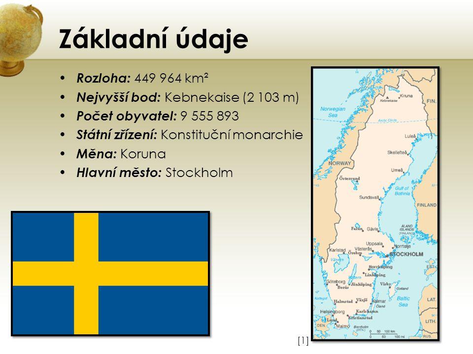 Základní údaje Rozloha: 449 964 km² Nejvyšší bod: Kebnekaise (2 103 m)