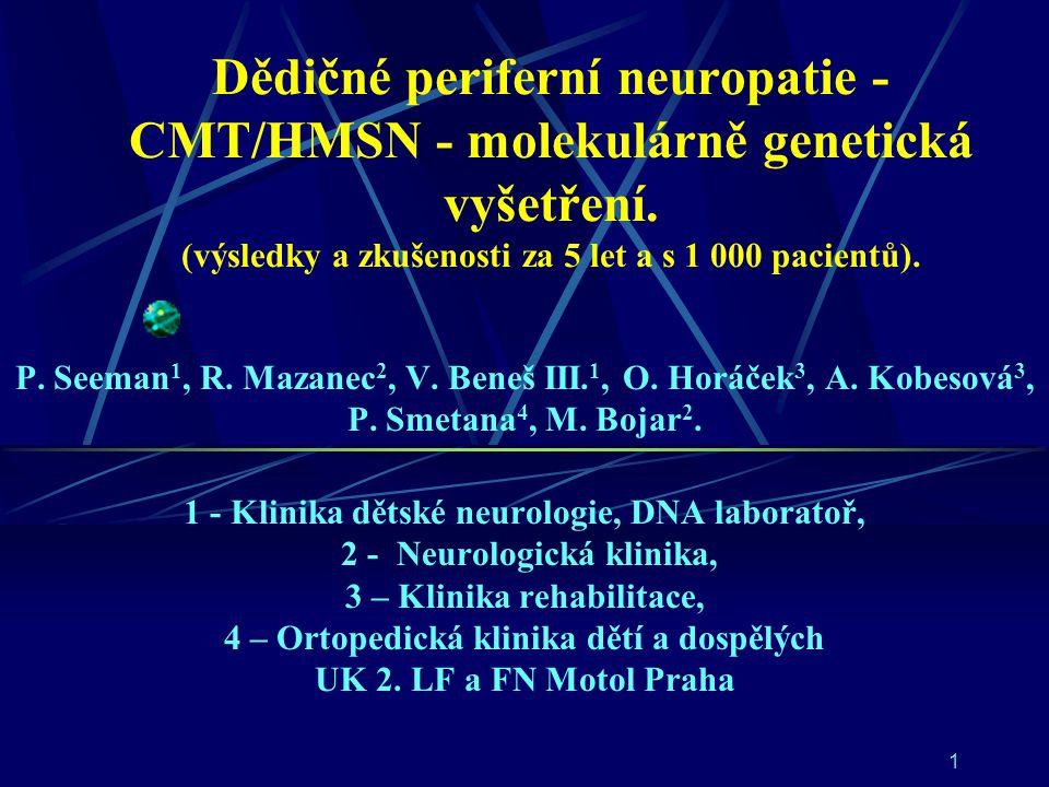Dědičné periferní neuropatie - CMT/HMSN - molekulárně genetická vyšetření. (výsledky a zkušenosti za 5 let a s 1 000 pacientů).