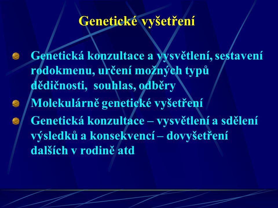 Genetické vyšetření Genetická konzultace a vysvětlení, sestavení rodokmenu, určení možných typů dědičnosti, souhlas, odběry.