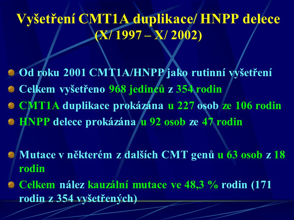 Vyšetření CMT1A duplikace/ HNPP delece (X/ 1997 – X/ 2002)