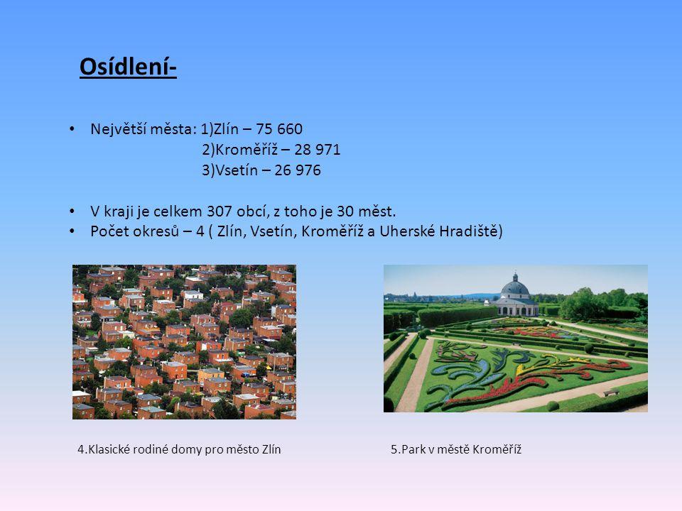 Osídlení- Největší města: 1)Zlín – 75 660 2)Kroměříž – 28 971