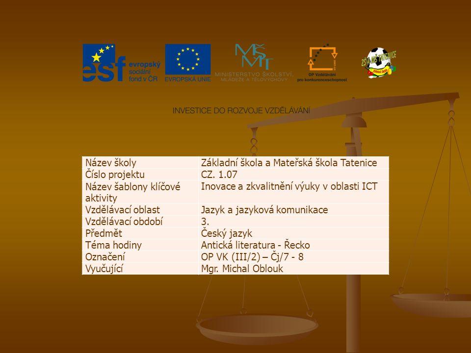 Název školy Základní škola a Mateřská škola Tatenice. Číslo projektu. CZ. 1.07. Název šablony klíčové aktivity.