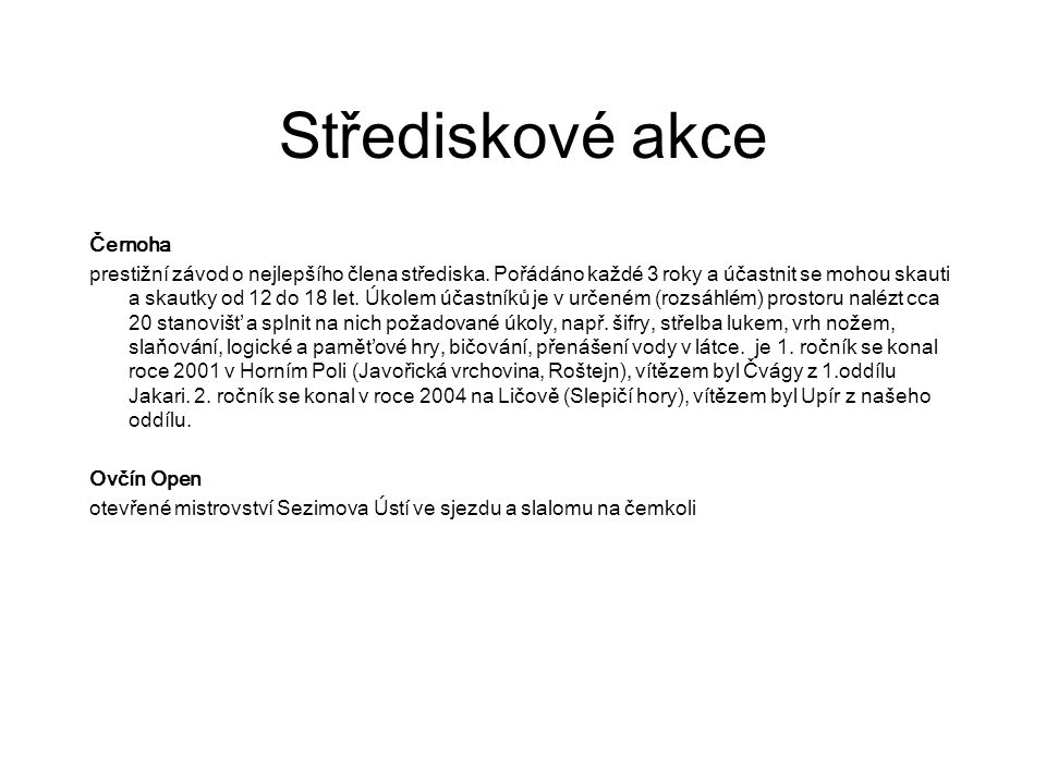 Střediskové akce Černoha