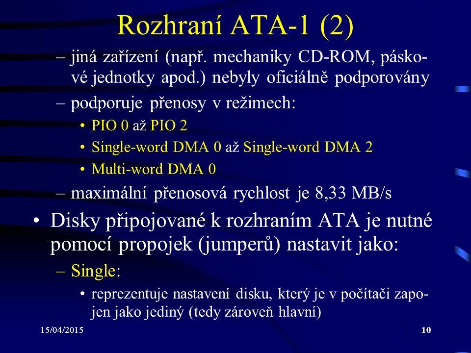 Rozhraní ATA-1 (2) jiná zařízení (např. mechaniky CD-ROM, pásko-vé jednotky apod.) nebyly oficiálně podporovány.