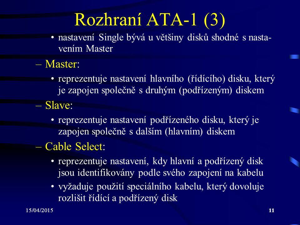 Rozhraní ATA-1 (3) Master: Slave: Cable Select: