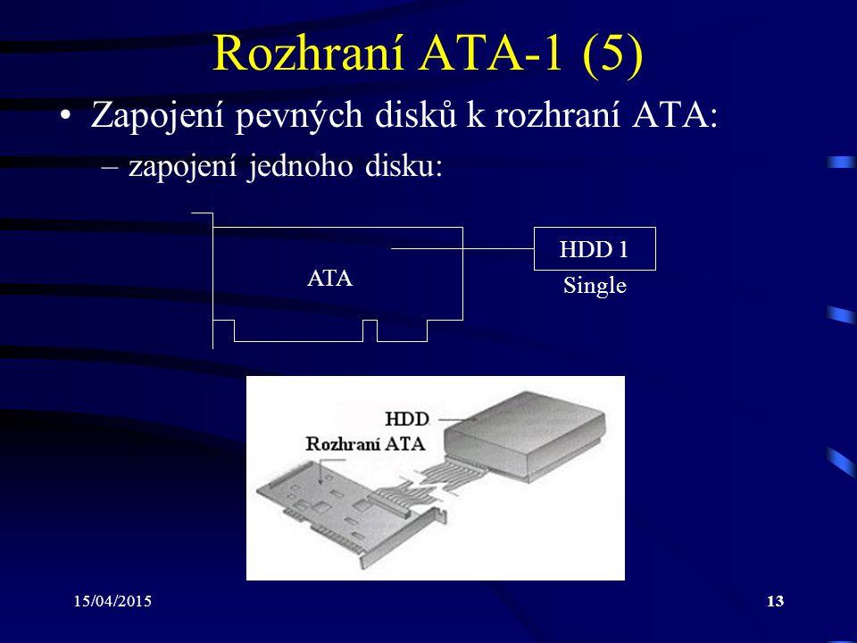 Rozhraní ATA-1 (5) Zapojení pevných disků k rozhraní ATA: