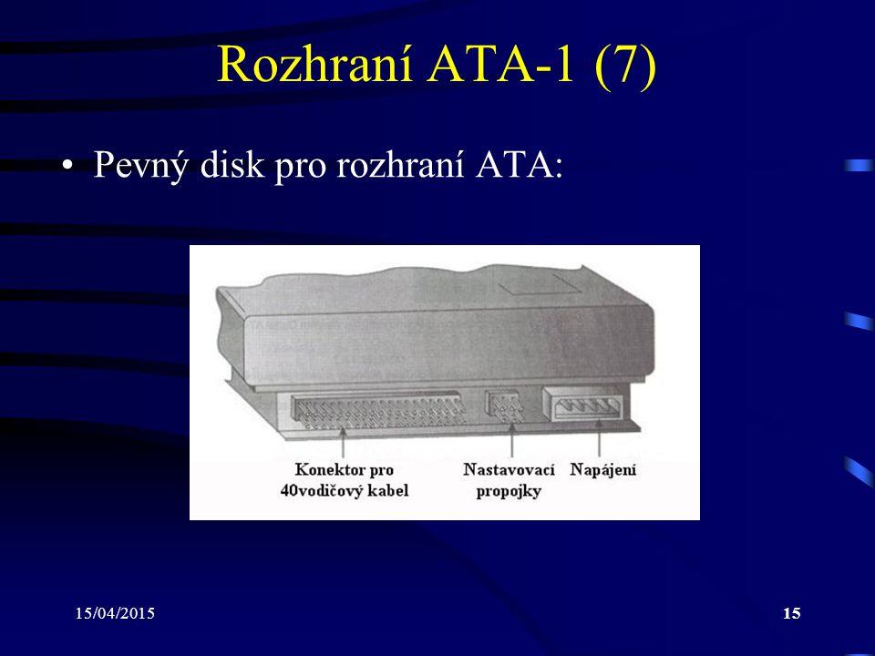 Rozhraní ATA-1 (7) Pevný disk pro rozhraní ATA: 12/04/2017