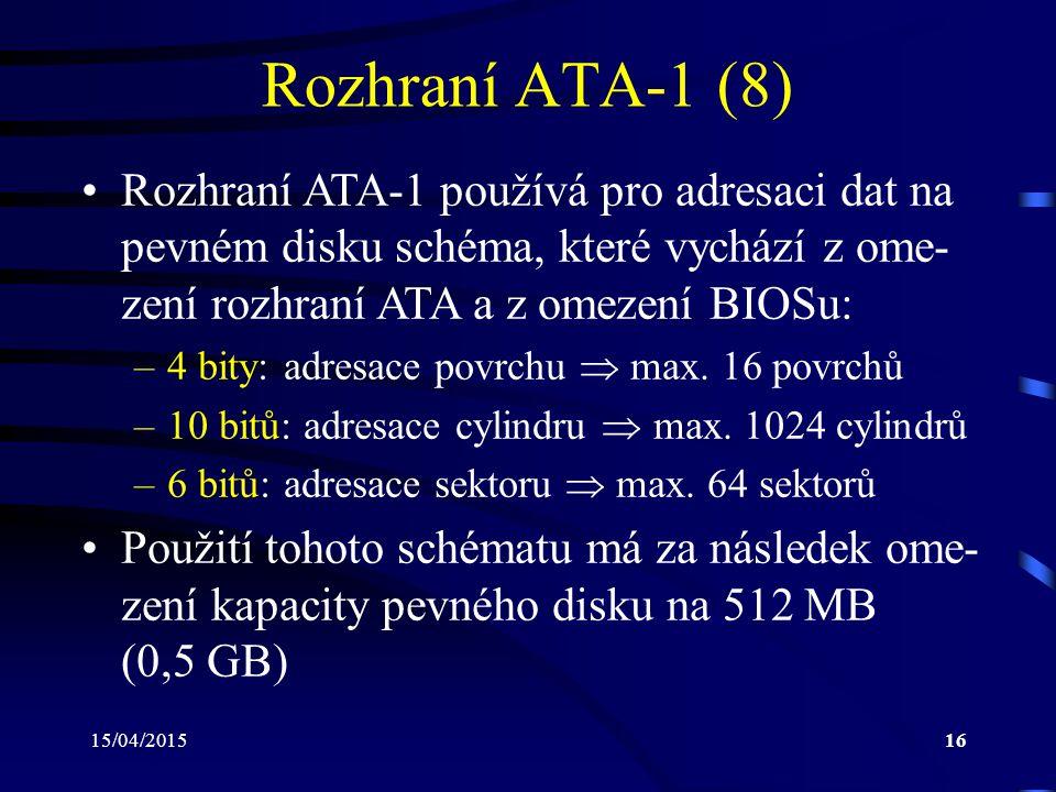 Rozhraní ATA-1 (8) Rozhraní ATA-1 používá pro adresaci dat na pevném disku schéma, které vychází z ome-zení rozhraní ATA a z omezení BIOSu: