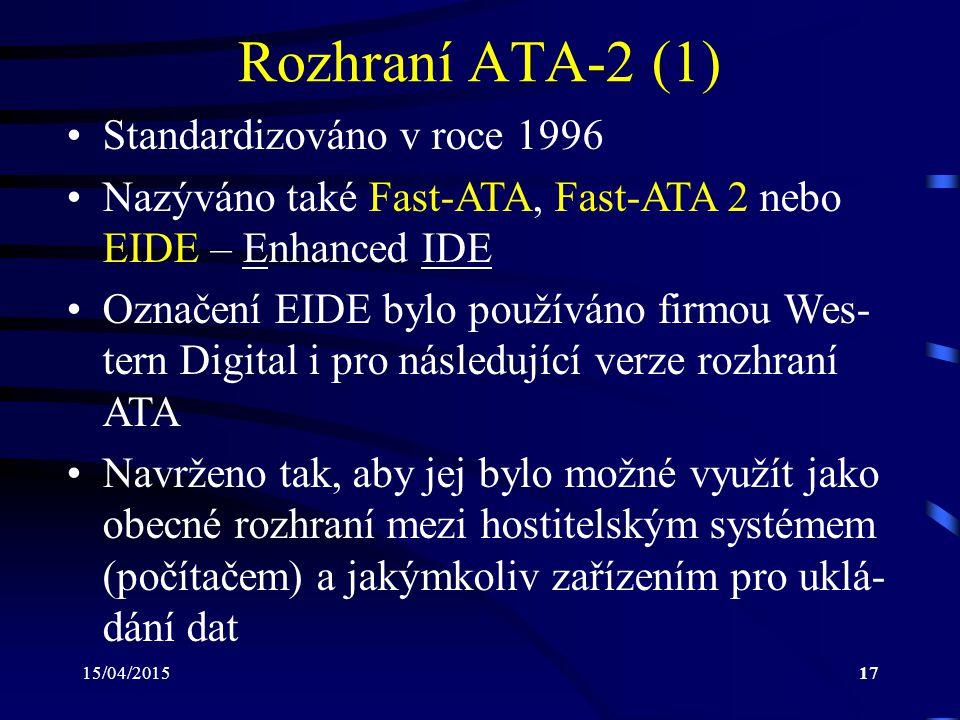 Rozhraní ATA-2 (1) Standardizováno v roce 1996