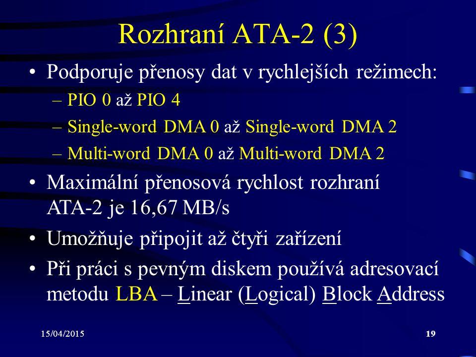 Rozhraní ATA-2 (3) Podporuje přenosy dat v rychlejších režimech: