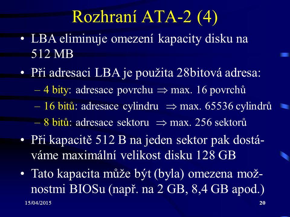 Rozhraní ATA-2 (4) LBA eliminuje omezení kapacity disku na 512 MB