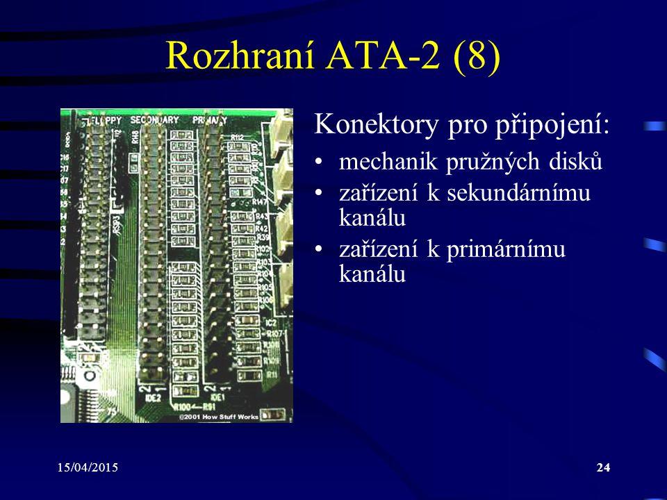 Rozhraní ATA-2 (8) Konektory pro připojení: mechanik pružných disků