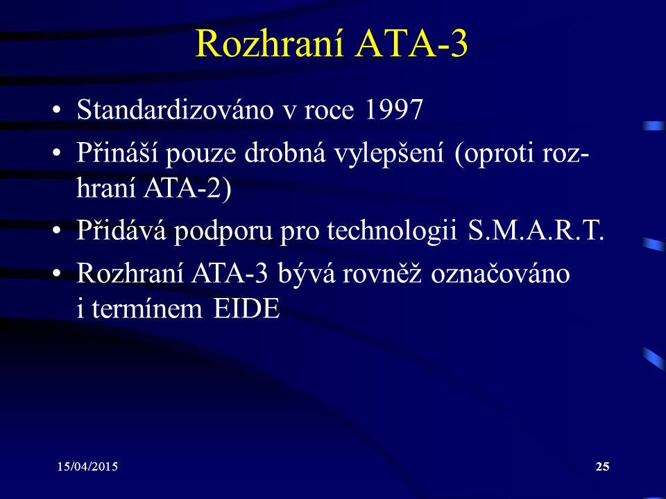 Rozhraní ATA-3 Standardizováno v roce 1997