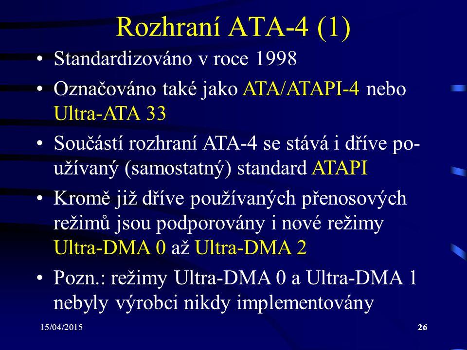 Rozhraní ATA-4 (1) Standardizováno v roce 1998