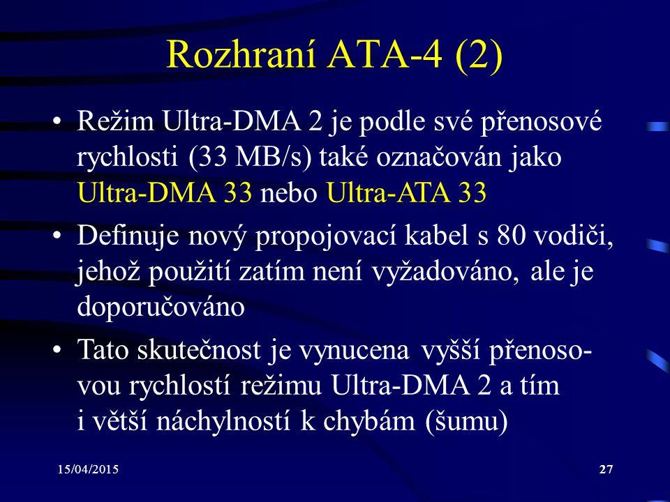 Rozhraní ATA-4 (2) Režim Ultra-DMA 2 je podle své přenosové rychlosti (33 MB/s) také označován jako Ultra-DMA 33 nebo Ultra-ATA 33.