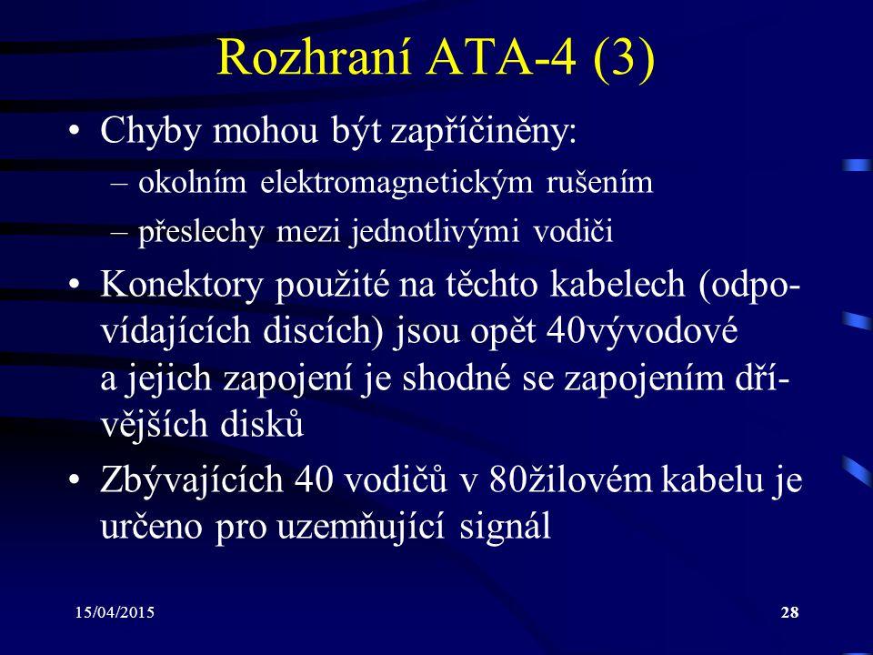 Rozhraní ATA-4 (3) Chyby mohou být zapříčiněny: