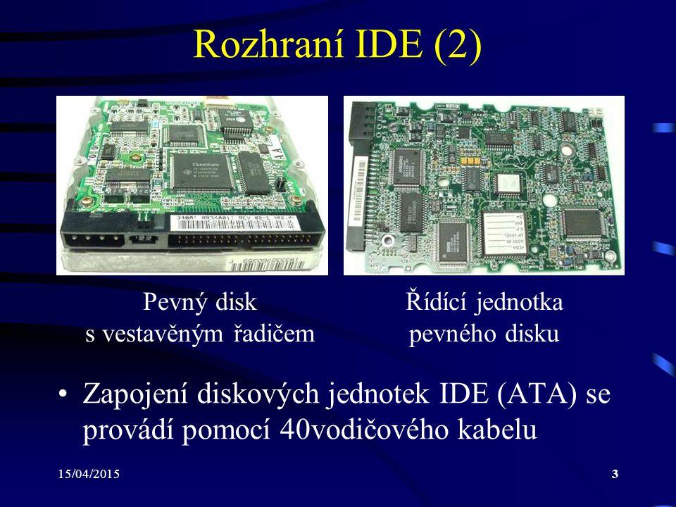 Rozhraní IDE (2) Pevný disk. s vestavěným řadičem. Řídící jednotka. pevného disku.