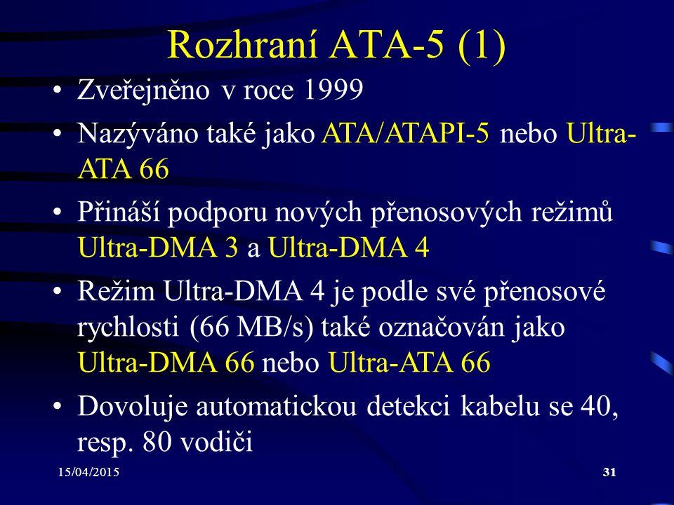 Rozhraní ATA-5 (1) Zveřejněno v roce 1999