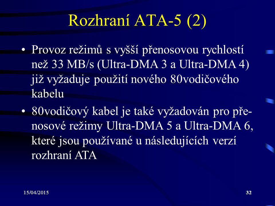 Rozhraní ATA-5 (2) Provoz režimů s vyšší přenosovou rychlostí než 33 MB/s (Ultra-DMA 3 a Ultra-DMA 4) již vyžaduje použití nového 80vodičového kabelu.