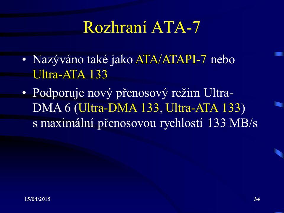 Rozhraní ATA-7 Nazýváno také jako ATA/ATAPI-7 nebo Ultra-ATA 133
