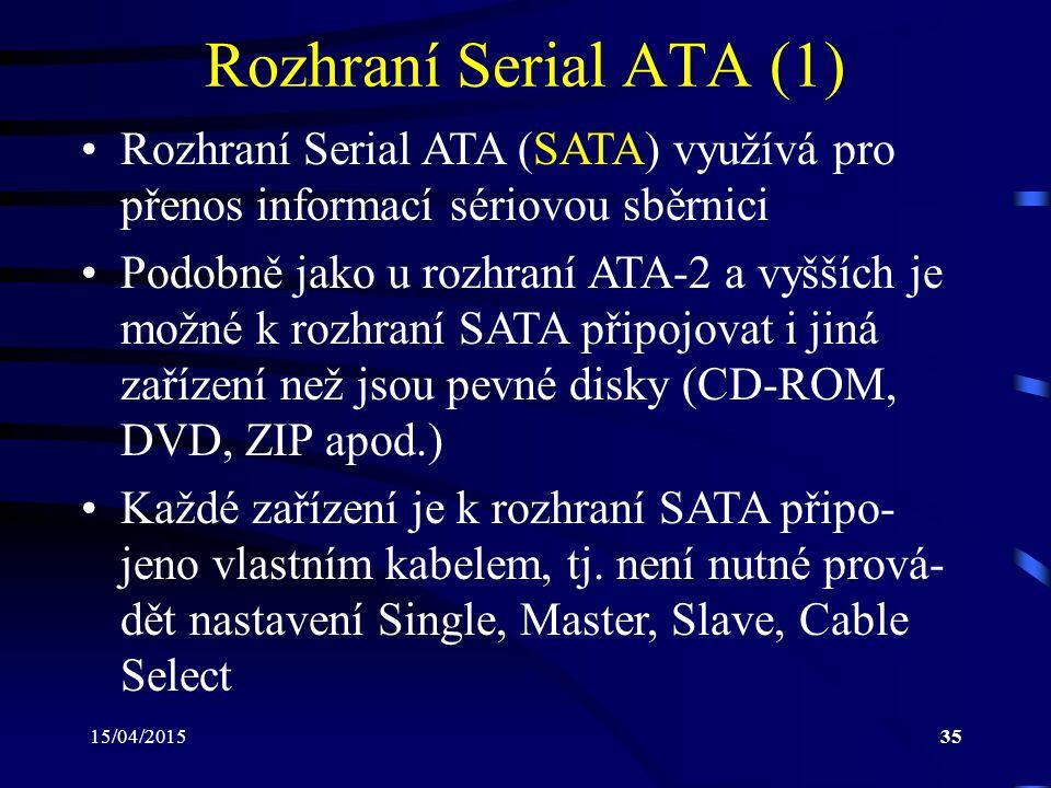 Rozhraní Serial ATA (1) Rozhraní Serial ATA (SATA) využívá pro přenos informací sériovou sběrnici.