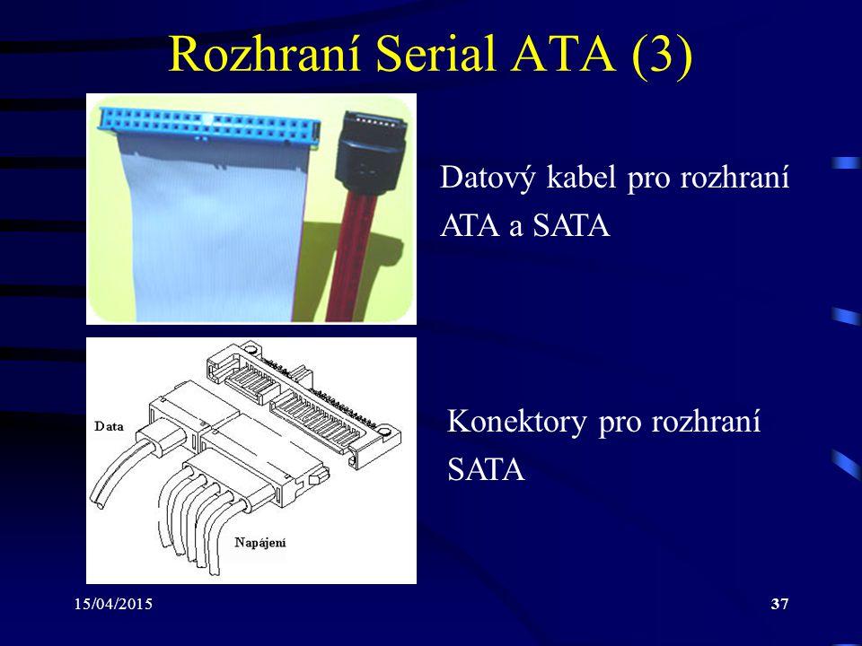 Rozhraní Serial ATA (3) Datový kabel pro rozhraní ATA a SATA