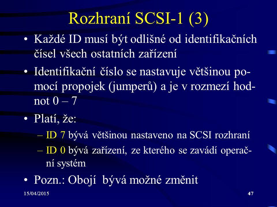 Rozhraní SCSI-1 (3) Každé ID musí být odlišné od identifikačních čísel všech ostatních zařízení.