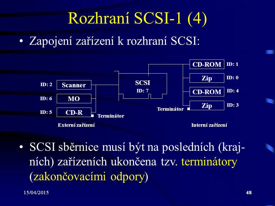 Rozhraní SCSI-1 (4) Zapojení zařízení k rozhraní SCSI: