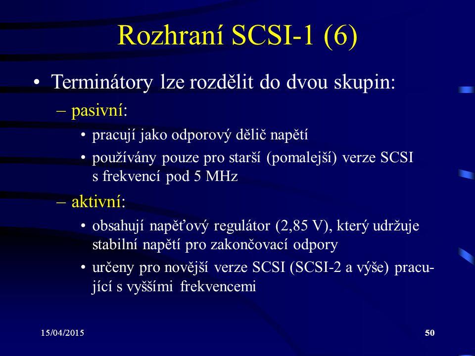 Rozhraní SCSI-1 (6) Terminátory lze rozdělit do dvou skupin: pasivní: