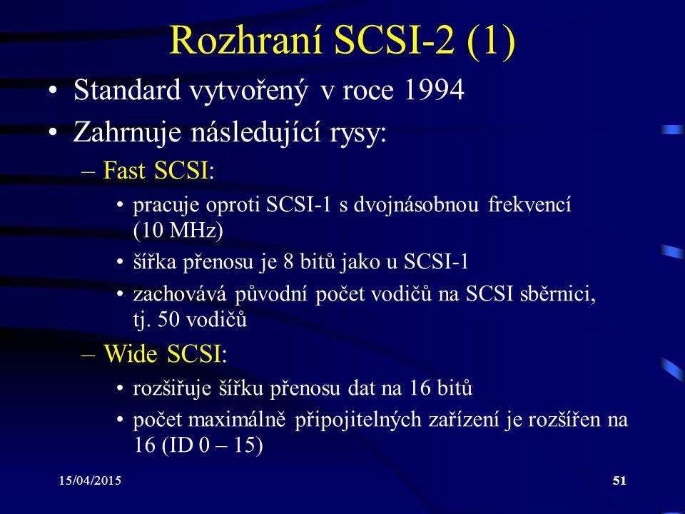 Rozhraní SCSI-2 (1) Standard vytvořený v roce 1994