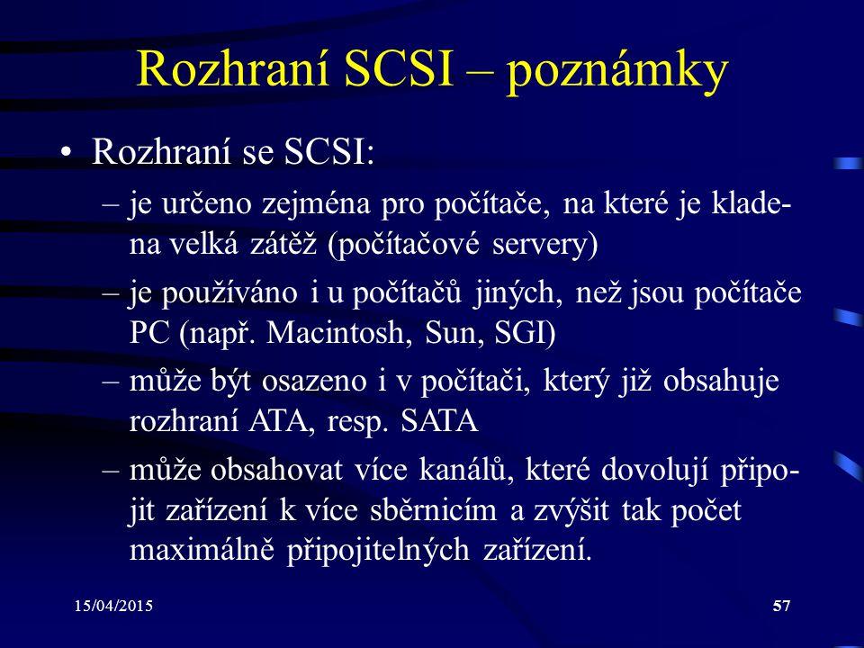 Rozhraní SCSI – poznámky